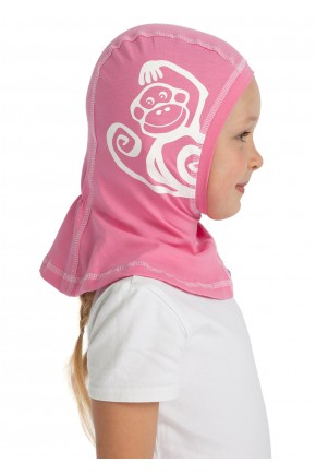 Шапка-шлем трикотажная I love mum ярко-розовая