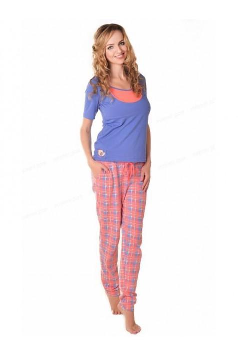 Пижама для беременных и кормящих брюки-коралловая клетка, футболка-синяя