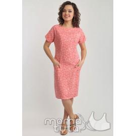 Платье летнее для кормящих (розовые цветы)