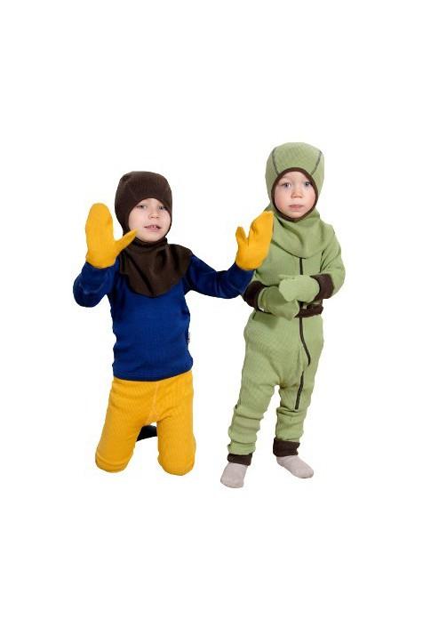 Варежки с пальцем из двойного слоя шерсти мериноса MaM ManyMonths