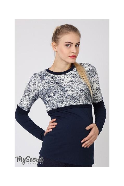 Лонгслив для беременных и кормящих Юла Mama Nadin синий «мрамор»/синий арт. NR-46.042