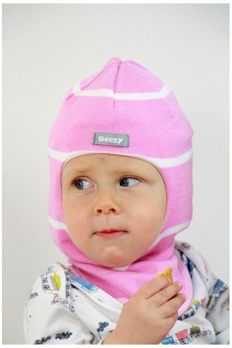 Демисезонный шлем Beezy арт.1511 розовый/белый
