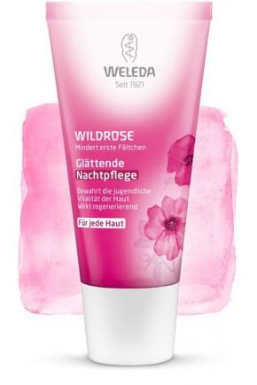 Розовый разглаживающий ночной крем для лица Weleda 30мл