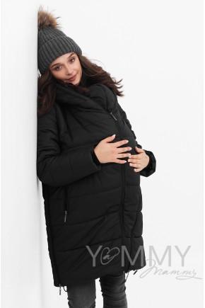 Слингокуртка 3в1 для беременных и слингоношения Y@mmy Mammy черная