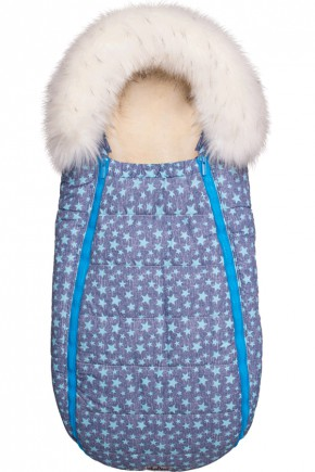 Конверт для новорожденного с опушкой на овчине ДоРечі Baby XS голубые звезды