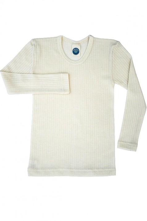 Кофточка  Cosilana c длинным рукавом из хлопка, шерсти и шелка натурного цвета
