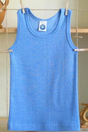 Майка для детей из шерсти-шелка-хлопка голубая Cosilana 91230 06