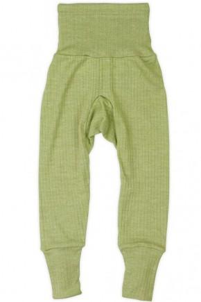 Термоштаны с высоким поясом, Cosilana из шерсти-шелка-хлопка зеленые 91016 021