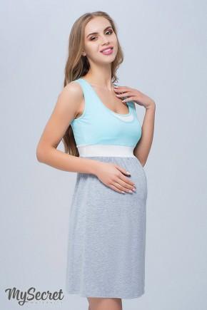 Ночная рубашка для беременных и кормящих Юла Мама Sela арт. NW-1.8.4 мент.+мол.+сер. меланж