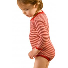 Боди детское из шерсти мериноса Hocosa красная полоска