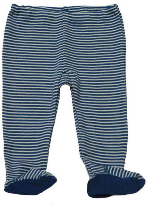 Штанишки с носочком  Hocosa голубая полоска, 100% шерсть