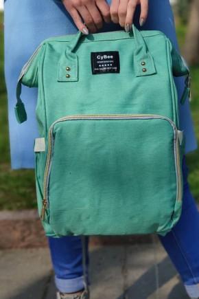 Сумка-рюкзак для мам зеленая