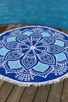 Круглое Полотенце Цветок, 150 см + бахрома