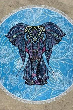 Круглое Полотенце Слон, 150 см + бахрома
