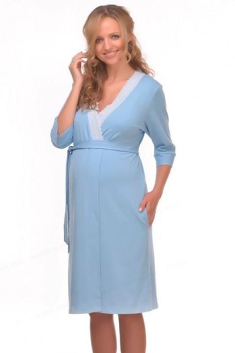 Халат для беременных трикотажный голубой