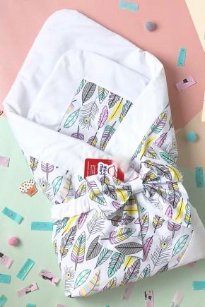 Конверт-одеяло на выписку для новорожденного MiniMark Пёрышки