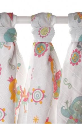 Муслиновые пеленки  XKKO 80х80 набор 3 шт. для девочки