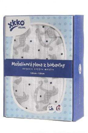 Пеленки из органического хлопка XKKO 120x120 Серебряные лошадки