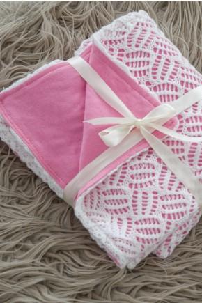 Ажурный вязаный плед на трикотаже Magbaby нежно-розовый