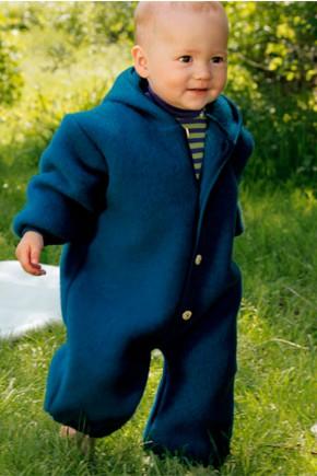 Комбинезон с капюшоном Engel из флисовой шерсти синий