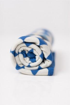 Шерстяной детский плед для прогулок 90х120 Lutik в синий ромб