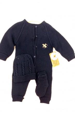Детский комбинезон + шапка+ пинетки арт. 6554 NipperLand (синий)