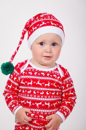"""Шапочка """"Новорічна Скандинавія"""" Magbaby червона з оленями"""