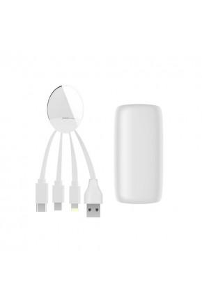 Внешн.порт.аккум.батареяXOOPAR - WEEKENDER (Li-Pol,5000мА*ч,бел,с каб.Тype-C,Lighting,microUSB,USB)