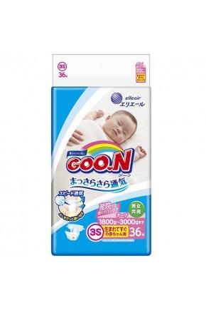 Подгузники GOO.N для маловесных новорожденных 1,8-3,5 кг (р. SSS, на липучках, унисекс,36 шт)