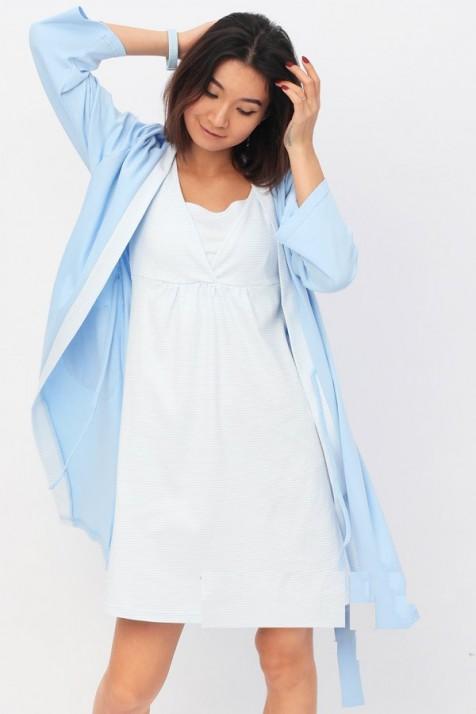 Халат + ночная рубашка для беременных и кормящих Yammy Mammy арт. 111.02.41 голубой с белой полоской