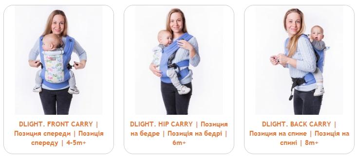 3 положения в эрго рюкзаке Love&Carry DLIGHT